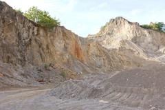 Gravel and crushed stone for the construction in open pit. Stock Photos