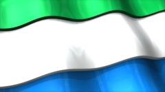 3D flag, Sierra Leone, waving, ripple, Africa, Middle East. - stock footage