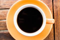 closeup cup of hot americano - stock photo