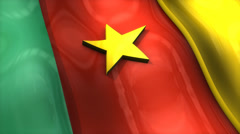 3D flag, Cameroon, waving, ripple, Africa, Middle East. - stock footage