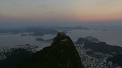 Stock Video Footage of Zoom in to Christ the Redeemer statue at dusk, Rio de Janeiro, Brazil, Cineflex