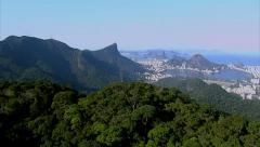 Aerial view of Rio de Janeiro from Tijuca National Park Stock Footage