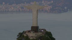 Christ the Redeemer statue overlooking the city, cineflex aerial, Rio de Stock Footage