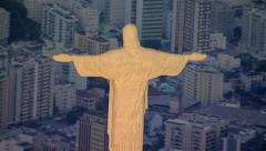 Aerial view of Christ the Redeemer Statue at sunset, Rio de Janeiro, Brazil - stock footage