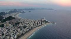 Aerial view of Ipanema and Copacabana Beaches at sunset, Rio de Janeiro, Brazil - stock footage