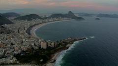 Aerial view of Copacabana Beach at sunset, Rio de Janeiro, Brazil - stock footage