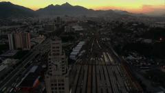 Aerial shot of Rio de Janeiro, Brazil at night Stock Footage