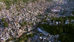 Aerial view of Rocinha, Brazil's largest favela, Rio de Janeiro, Brazil Stock Footage