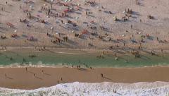 Aerial view of Sao Conrado beach, Rio de Janeiro, Brazil - stock footage
