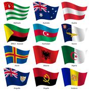 set  flags of world sovereign states. vector illustration. - stock illustration
