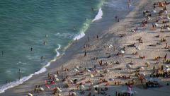 Closeup aerial view of Copacabana beach, Rio de Janeiro, Brazil Stock Footage