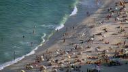 Stock Video Footage of Closeup aerial view of Copacabana beach, Rio de Janeiro, Brazil