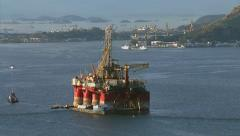 Oil platform at Guanabara Bay, Rio de Janeiro, Brazil Stock Footage