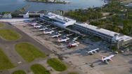 Stock Video Footage of Rio de Janeiro, Brazil - Flying over Santos Dumont Airport