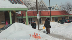 Snow covered entrance to community center Stock Footage