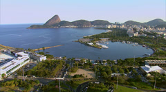 Aerial view of Guanabara Bay and Sugarloaf Mountain, Rio de Janeiro, Brazil Stock Footage