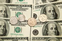 Russian rubles and u.s. dollars Stock Photos