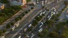 Rio de Janeiro, Brazil - August 23, 2013: Flying over city street with busses Stock Footage