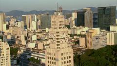 Aerial shot of Central do Brasil clock tower, Rio de Janeiro, Brazil - stock footage