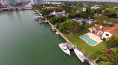 Aerial Allison Island waterfront mansions Stock Footage