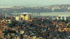Aerial shot of gondola over favela, Rio de Janeiro, Brazil - stock footage