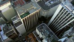 Flying directly over city buildings, Rio de Janerio Stock Footage