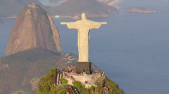 Aerial view of Christ the Redeemer Statue and sugarloaf mountain - stock footage