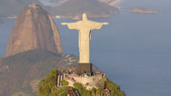Stock Video Footage of Aerial view of Christ the Redeemer Statue and sugarloaf mountain