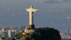 Stock Video Footage of Aerial view of Christ the Redeemer Statue and Guanabara Bay, Rio de Janeiro