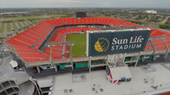 Aerial Sunlife stadium Miami Florida Stock Footage
