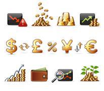 Finance, money and economy - Harmony icon set Stock Illustration