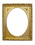 Gold antique oval frame isolated on white background Stock Photos