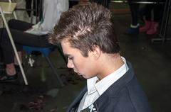 the young man participant contest. - stock photo
