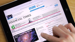 News Internet Site On Tablet iPad Stock Footage