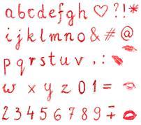 Isolated red lowercase written lipstick alphabet - stock photo