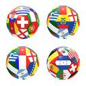 Stock Illustration of 3d render of 4 soccer football representing competition group e on 2014 fifa