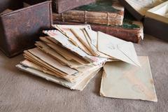 vintage correspondence - stock photo