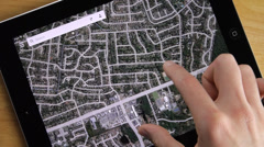 Satelit Maps On iPad Tablet Stock Footage