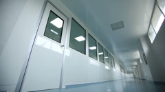 Indoors of hospital, hallway of recovery rooms Stock Footage