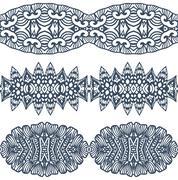 set linear floral ornament. - stock illustration