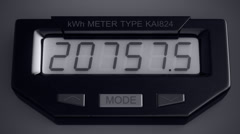 Digital electricity meter showing household consumption. watt energy KWh Stock Footage