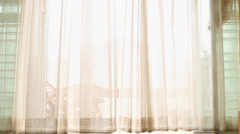 White curtain in wind,slid dolly shot. Stock Footage