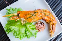 Grill shrimp Stock Photos