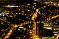 illuminated city of wroclaw - view from above - stock photo