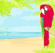 Stock Illustration of colourful parrot bird sitting on the perch on the beach