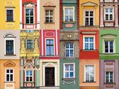 Stock Photo of windows at colorful front of building collage