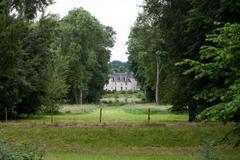 Garden in castle of azay-le-rideau.  loire valley, france Stock Photos
