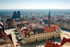 Wroclaw town hall and market square Stock Photos