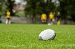 Rugby ball at green grass. Blurred players at background Stock Photos