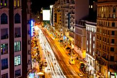 Gran via street in Madrid - night view Stock Photos